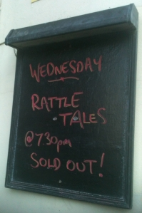 Rattle Tales sign saying 'sold out'.