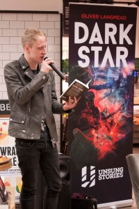 Oliver Langmead reads Dark Star at the official launch event. Blackwells Holborn 20 March 2015 (Portrait)