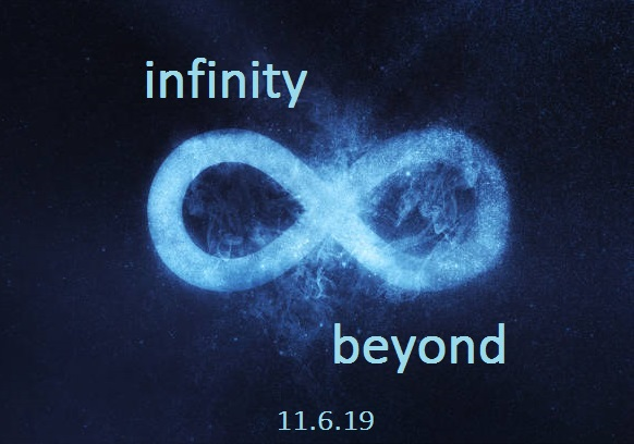Infinity symbol or sign. Abstract night sky background